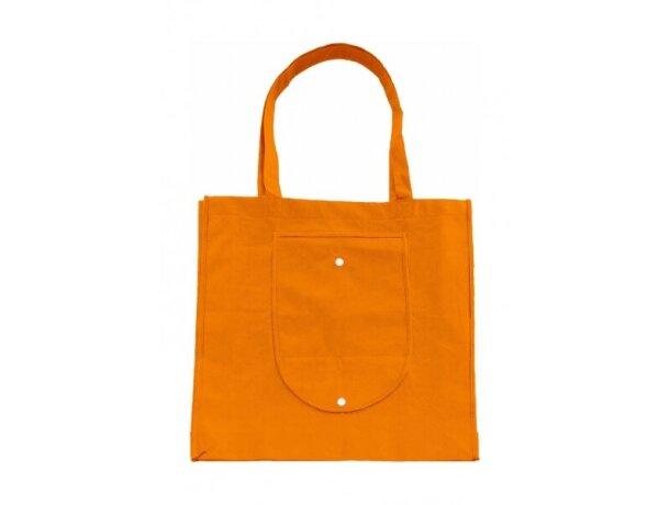 Bolsa plegable con asas largas personalizada naranja
