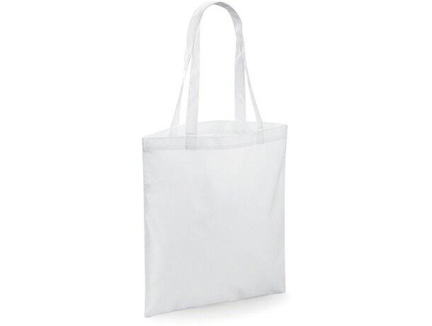 Bolsa lisa con asas de mano largas personalizada blanca