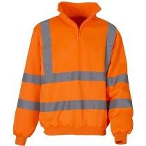 Sudadera para el frío con cremallera y cuello alto naranja fluor