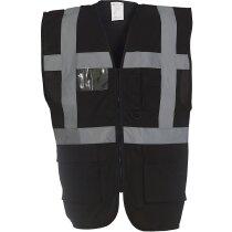 Chaleco de seguridad con bandas verticales y horizontales personalizado negro