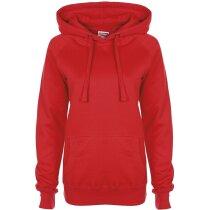 Sudadera de mujer con capucha roja