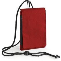 Funda de poliester con colgante y mosquetón roja personalizada