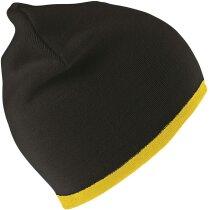 Gorro de punto en colores combinados personalizado negro/amarillo