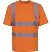 Camiseta unisex con franjas reflectantes personalizada naranja fluor