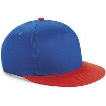 Gorra con diseño moderno snapback visera de color personalizada azul/rojo