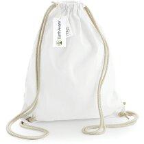 Bolsa mochila de algodón orgánico muy resistente blanca personalizado