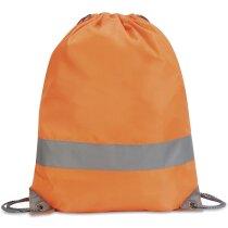 Mochila alta visibilidad de poliéster con cordones naranja fluor personalizado