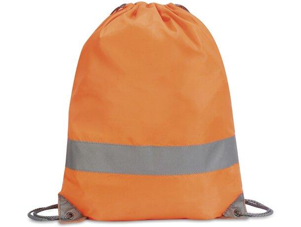 Mochila alta visibilidad de poliéster con cordones naranja fluor