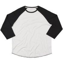 Camiseta unisex manga larga mangas combinadas 150 gr blanco/negro