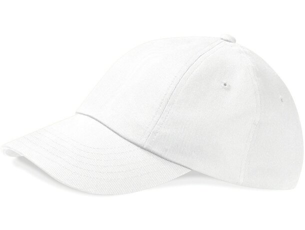 Gorra de perfil bajo en algodón con 5 paneles personalizada blanca