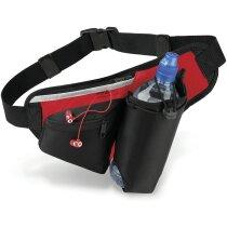 Riñonera con soporte para botella de agua negro y rojo