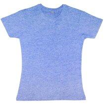 Camiseta entallada de mujer manga corta grabada azul