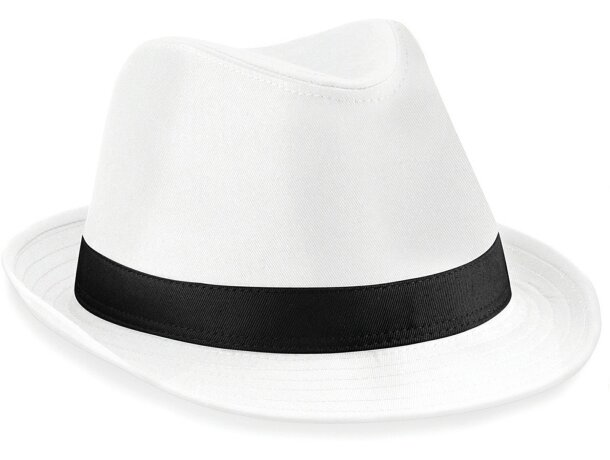 Sombrero de poliester con cinta de refuerzo interior barato blanco/negro