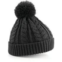 Gorro acabado de lana con pompón personalizado gris