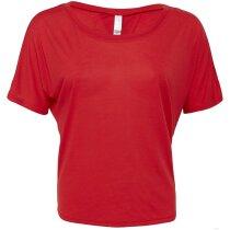 Camiseta de mujer ligera abierta grabada roja