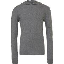 Camiseta manga larga con capucha y cuello en V de hombre 135 gr gris
