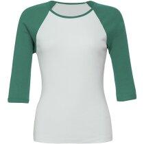 Camiseta manga 3/4 Raglán contraste blanco/verde