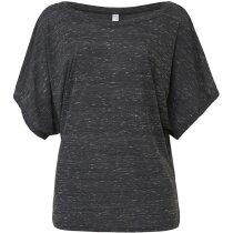 Camiseta de mujer abierta manga Dolman gris