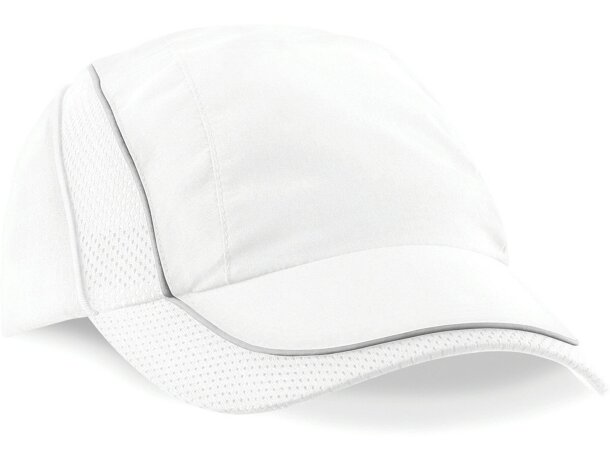 Gorra especial en poliester con acabados de malla personalizada blanca