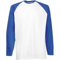 Camiseta manga larga unisex mangas contrastada 160 gr blanco/azul