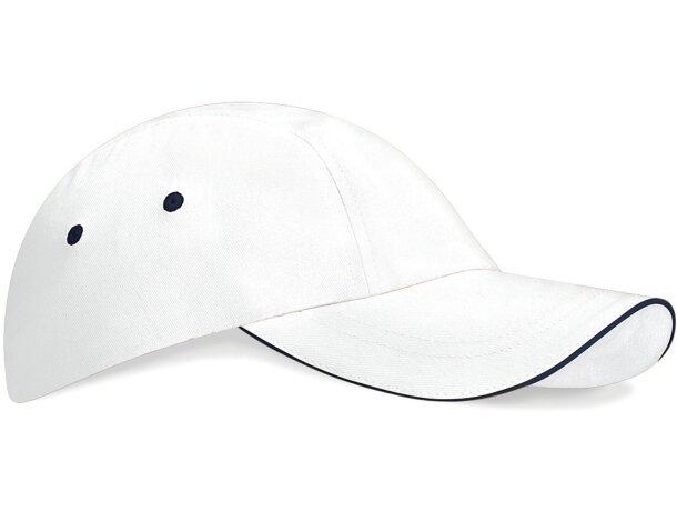 Gorra de perfil bajo con 3 paneles con logo blanco/azul