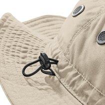 Sombrero con cordon ajustable en poliester personalizado beige