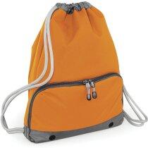 Mochila con cuerdas con gran bolsillo frontal grabada naranja