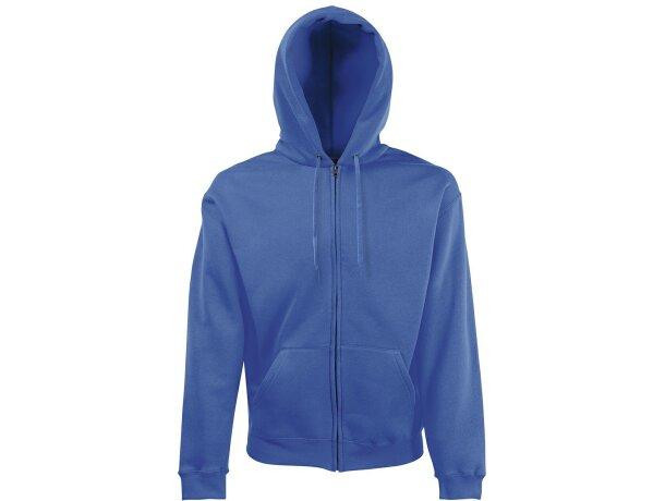 Sudadera unisex con capucha y cremallera entera azul royal