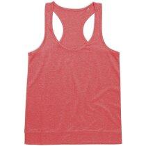 Camiseta deportiva de mujer sin mangas personalizada naranja