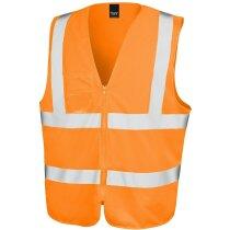 Chaleco de poliester con bolsillos personalizado naranja fluor