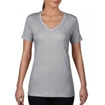 Camiseta cuello V Ring-spun de mujer grabada