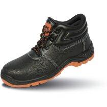 Botas de cuero con puntera de acero de diseño moderno negro/fucsia