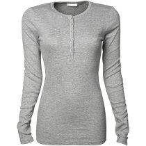 Camiseta manga larga de mujer tejido grueso 240 gr personalizada gris