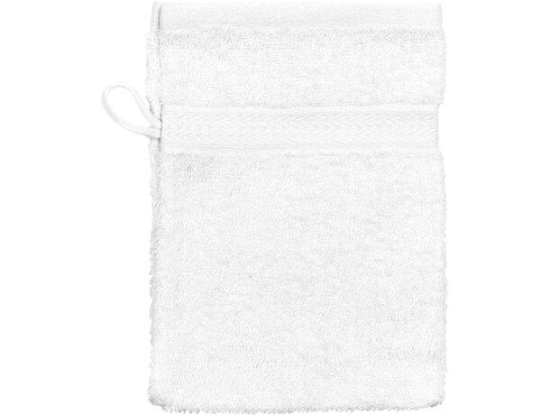 Manopla de baño en algodón 550 gr personalizada blanca
