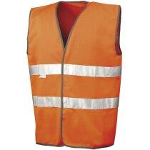 Chaleco en poliester de seguridad con bordes personalizado naranja fluor