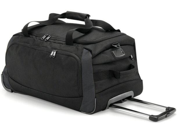 Bolsa de poliéster con ruedas resistentes personalizada negra