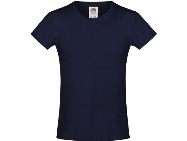 Camiseta de niña 100% algodón grabada azul marino