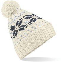 Gorro para la nieve de punto decorado personalizada blanco y azul