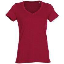 Camiseta de mujer manga corta 100% algodón grabada roja