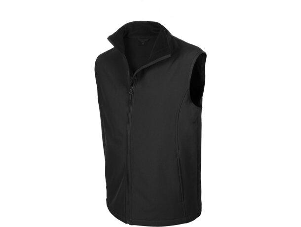 Chaleco unisex con bolsillos fabricado en soft shell negro