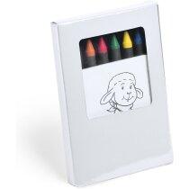 Set infantil ceras de colores y dibujos personalizada blanca