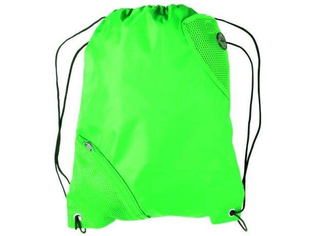 Mochila con cuerdas con bolsillo en esquina personalizada verde