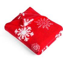 Manta con lazo y motivos navideños grabada roja