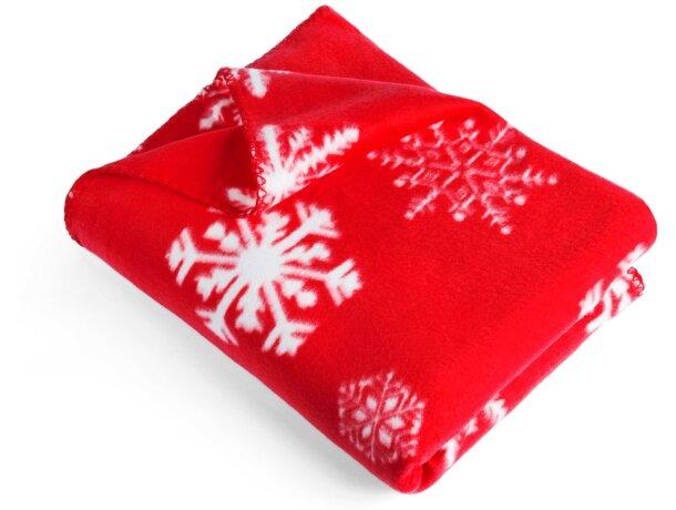 Manta con lazo y motivos navideños roja