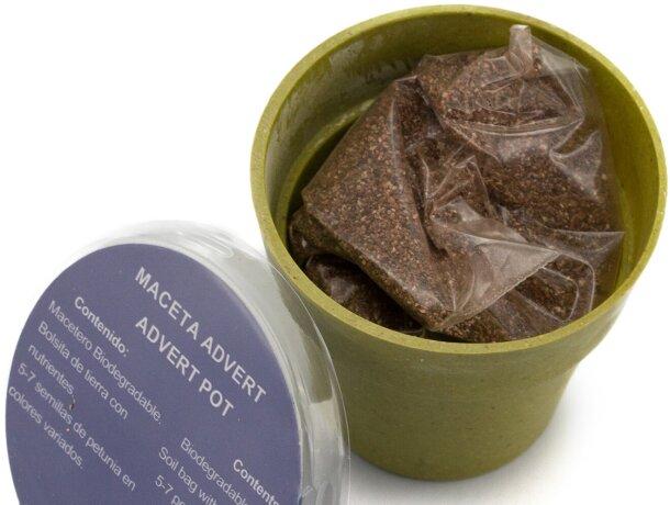 Maceta de cartón ecológico con semillas de petunia colo logo