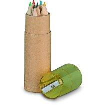 Estuche circular con lápices y sacapuntas con logo