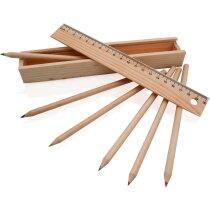 Caja de madera con tapa y con lápices