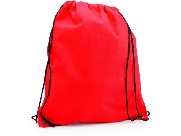 Mochila con cordones y esquinas reforzadas con logo roja