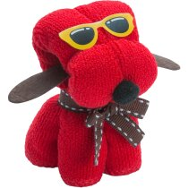 Toalla de regalo con forma de perrito con gafas grabada roja