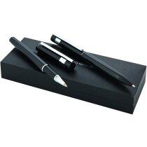Estuche de bolígrafo y roller metalizado Antonio Miró con logo